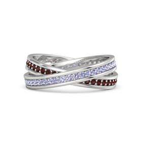 Sterling Silver Ring with Tanzanite & Red Garnet