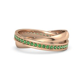 14K Rose Gold Ring with Emerald