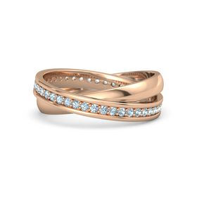 14K Rose Gold Ring with Aquamarine