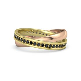 14K Yellow Gold Ring with Black Diamond