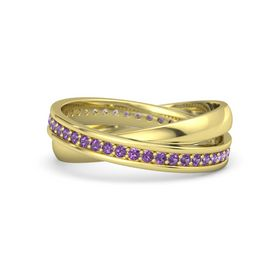 14K Yellow Gold Ring with Amethyst
