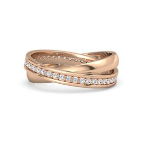 18K Rose Gold Ring with White Sapphire