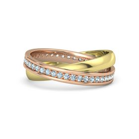 18K Rose Gold Ring with Aquamarine