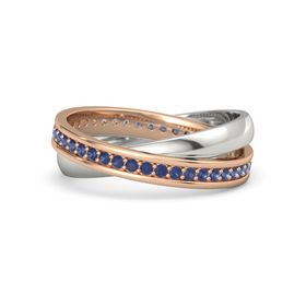 18K Rose Gold Ring with Blue Sapphire