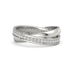 18K White Gold Ring with White Sapphire