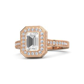 Emerald Rock Crystal 14K Rose Gold Ring with Diamond