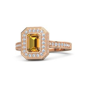 Emerald-Cut Citrine 14K Rose Gold Ring with Diamond