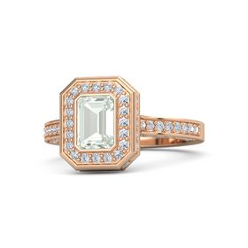 Emerald Green Amethyst 14K Rose Gold Ring with Diamond