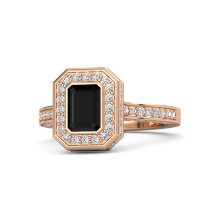 emerald cut black onyx 14k gold ring with