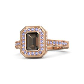 Emerald Smoky Quartz 14K Rose Gold Ring with Tanzanite