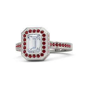 Emerald Diamond 14K White Gold Ring with Ruby