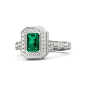 Emerald-Cut Emerald 14K White Gold Ring with White Sapphire