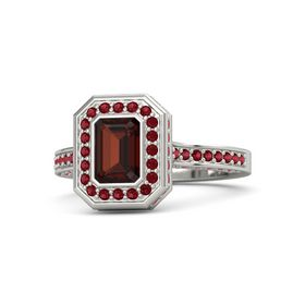 Emerald Red Garnet 14K White Gold Ring with Ruby