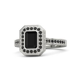 Emerald Black Onyx 14K White Gold Ring with Black Diamond