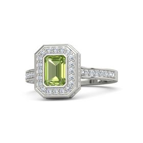 Emerald-Cut Peridot 14K White Gold Ring with Diamond
