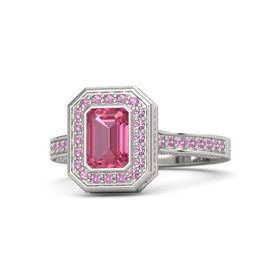 Emerald-Cut Pink Tourmaline 14K White Gold Ring with Pink Tourmaline