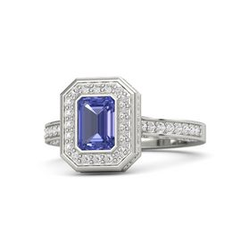 Emerald-Cut Tanzanite 14K White Gold Ring with White Sapphire