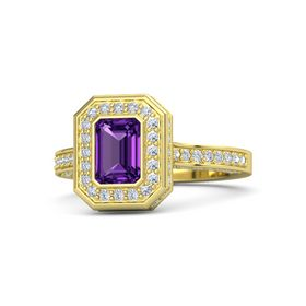Emerald-Cut Amethyst 14K Yellow Gold Ring with Diamond
