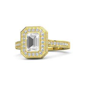 Emerald Rock Crystal 14K Yellow Gold Ring with Diamond