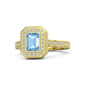 Emerald-Cut Blue Topaz 14K Yellow Gold Ring with Diamond