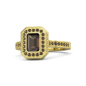 Emerald Smoky Quartz 14K Yellow Gold Ring with Smoky Quartz