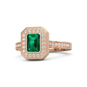 Emerald Emerald 18K Rose Gold Ring with White Sapphire