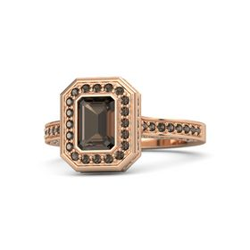 Emerald-Cut Smoky Quartz 18K Rose Gold Ring with Smoky Quartz
