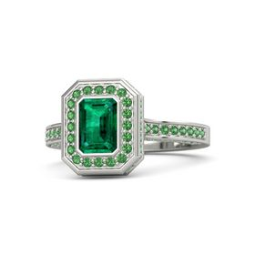 Emerald-Cut Emerald 18K White Gold Ring with Emerald