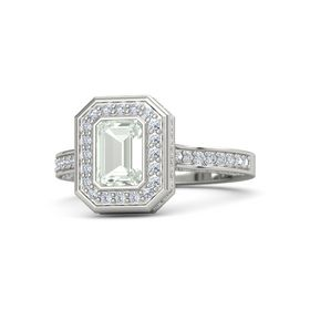 Emerald Green Amethyst 18K White Gold Ring with Diamond