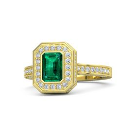 Emerald Emerald 18K Yellow Gold Ring with Diamond