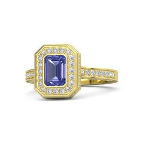 Emerald-Cut Tanzanite 18K Yellow Gold Ring with Diamond