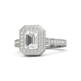 Emerald-Cut Rock Crystal Palladium Ring with White Sapphire