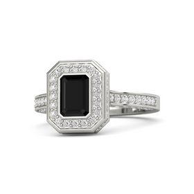 Emerald-Cut Black Onyx Palladium Ring with White Sapphire