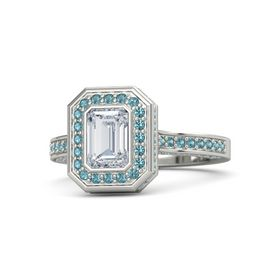 Emerald Diamond Platinum Ring with London Blue Topaz