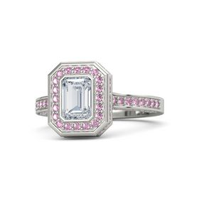 Emerald Diamond Platinum Ring with Pink Sapphire