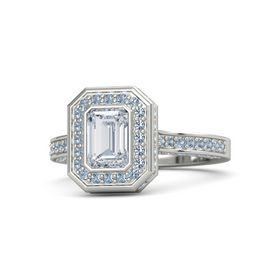 Emerald Diamond Platinum Ring with Blue Topaz