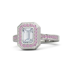 Emerald Diamond Platinum Ring with Pink Tourmaline