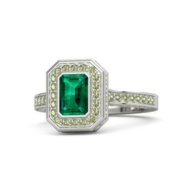 Emerald-Cut Emerald Platinum Ring with Peridot