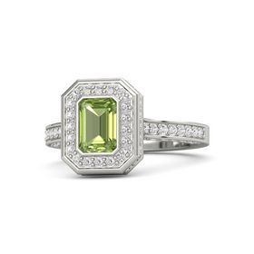 Emerald-Cut Peridot Platinum Ring with White Sapphire