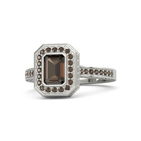 Emerald-Cut Smoky Quartz Platinum Ring with Smoky Quartz