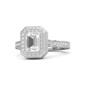 Emerald-Cut Rock Crystal Sterling Silver Ring with White Sapphire