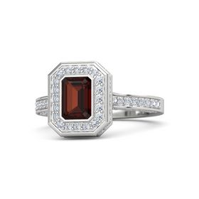Emerald-Cut Red Garnet Sterling Silver Ring with Diamond