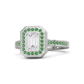 Emerald White Sapphire Sterling Silver Ring with Emerald