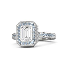 Emerald-Cut White Sapphire Sterling Silver Ring with Blue Topaz