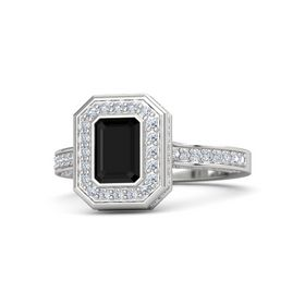 Emerald Black Onyx Sterling Silver Ring with Diamond