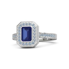 Emerald-Cut Sapphire Sterling Silver Ring with Blue Topaz