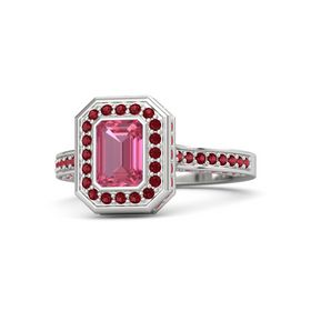 Emerald Pink Tourmaline Sterling Silver Ring with Ruby