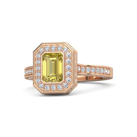 Emerald Yellow Sapphire 18k Rose Gold Ring With Diamond Melanie Ring Gemvara