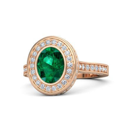 Oval Emerald 14K Rose Gold Ring with Diamond Melanie Ring