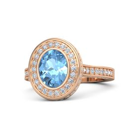 Oval Blue Topaz 14K Rose Gold Ring with Diamond